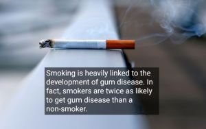 A cigarette lying on a ledge, with text - Pinole Oral Surgery, CA